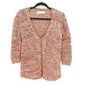 Zara Red Loose Marled Knit Metallic V-Neck Sweater